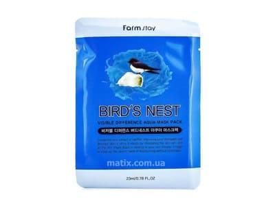 Маска для обличчя з екстрактом ластівчиного гнізда (FarmStay Visible Difference Birds Nest Aqua Mask Pack)